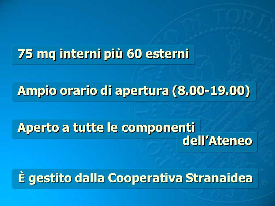 75 mq interni più 60 esterni Ampio orario di apertura (8.00-19.00) È gestito dalla Cooperativa Stranaidea Aperto a tutte le componenti dellAteneo Aper