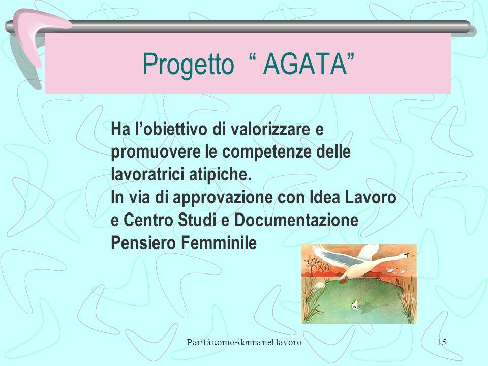 Parità uomo-donna nel lavoro15 Progetto AGATA Ha lobiettivo di valorizzare e promuovere le competenze delle lavoratrici atipiche.