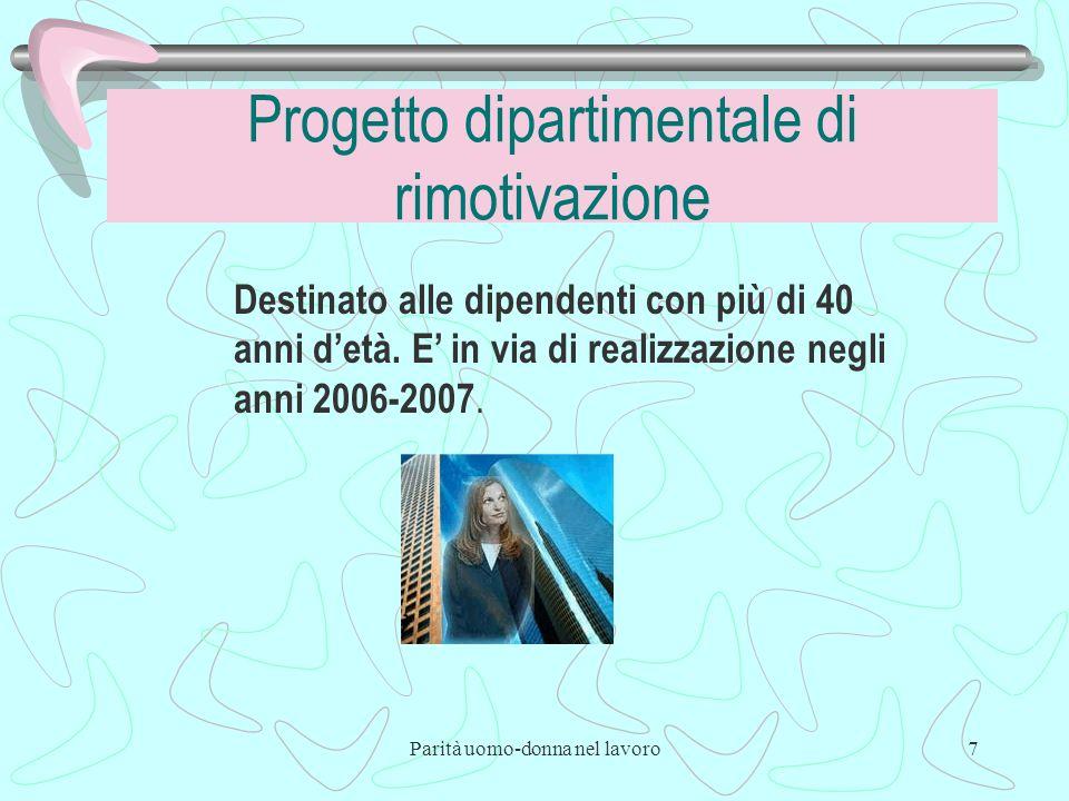Parità uomo-donna nel lavoro7 Progetto dipartimentale di rimotivazione Destinato alle dipendenti con più di 40 anni detà.