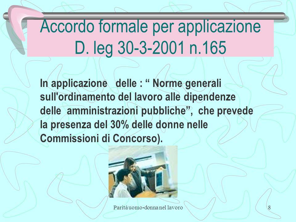 Parità uomo-donna nel lavoro8 Accordo formale per applicazione D.