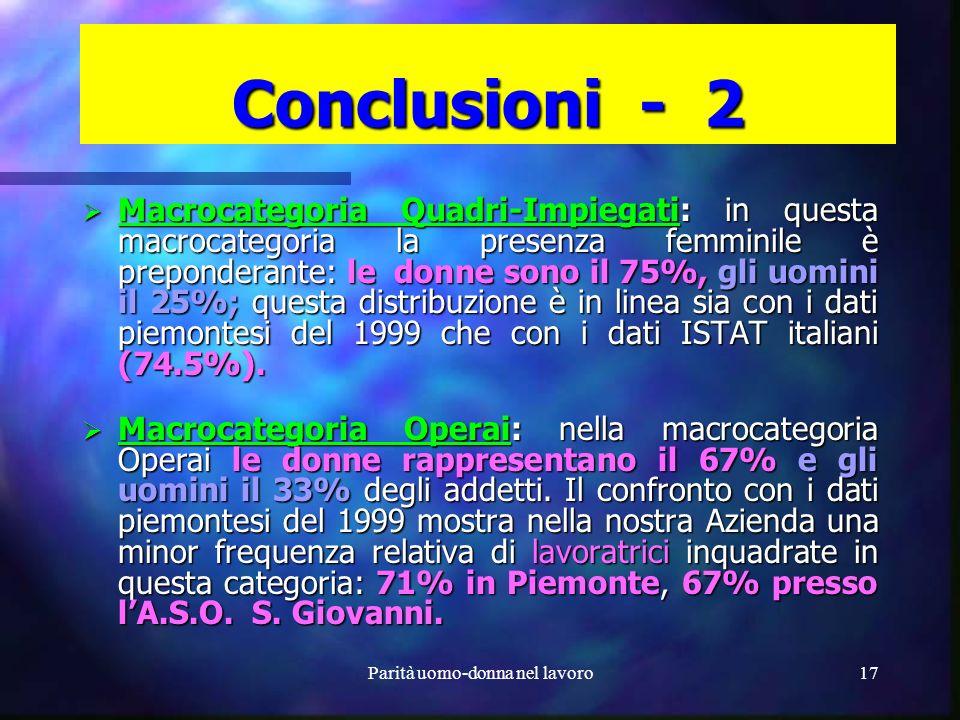 Parità uomo-donna nel lavoro16 Conclusioni - 1 LA.S.O. S. Giovanni è unazienda a prevalenza femminile. Le donne rappresentano, nel quadriennio 1999 –