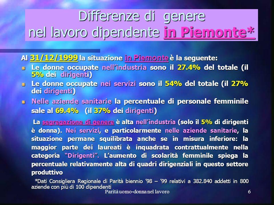 Parità uomo-donna nel lavoro5 Analisi dei differenziali salariali per genere in Italia* A livello nazionale le donne occupate salgono dal 39% nel 1982