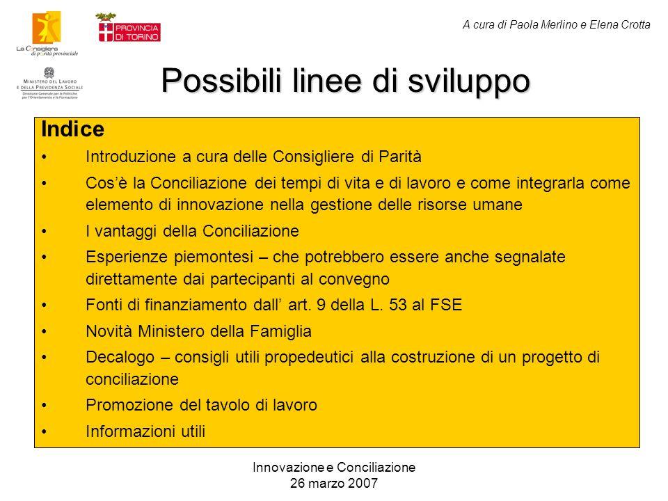 A cura di Paola Merlino e Elena Crotta Possibili linee di sviluppo Innovazione e Conciliazione 26 marzo 2007 Indice Introduzione a cura delle Consigli