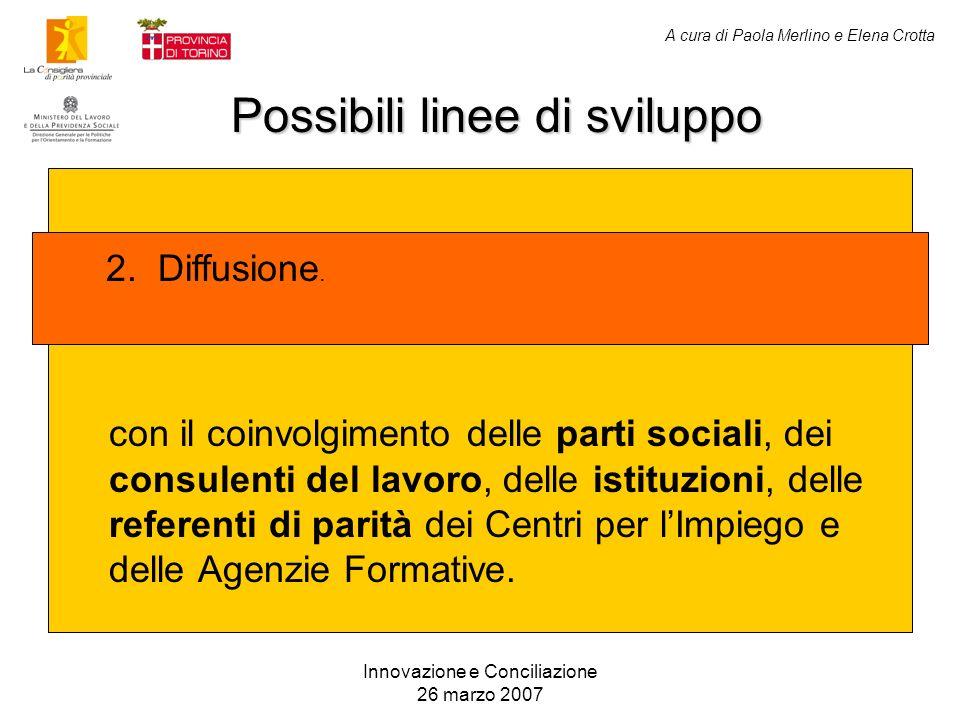A cura di Paola Merlino e Elena Crotta Possibili linee di sviluppo Innovazione e Conciliazione 26 marzo 2007 con il coinvolgimento delle parti sociali