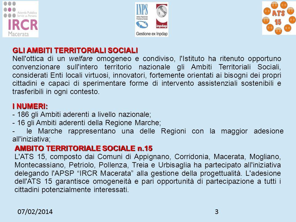 07/02/20143 3 GLI AMBITI TERRITORIALI SOCIALI Nell'ottica di un welfare omogeneo e condiviso, l'Istituto ha ritenuto opportuno convenzionare sull'inte