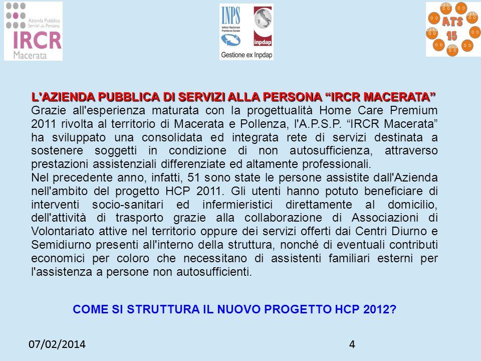 07/02/20144 4 L'AZIENDA PUBBLICA DI SERVIZI ALLA PERSONA IRCR MACERATA Grazie all'esperienza maturata con la progettualità Home Care Premium 2011 rivo