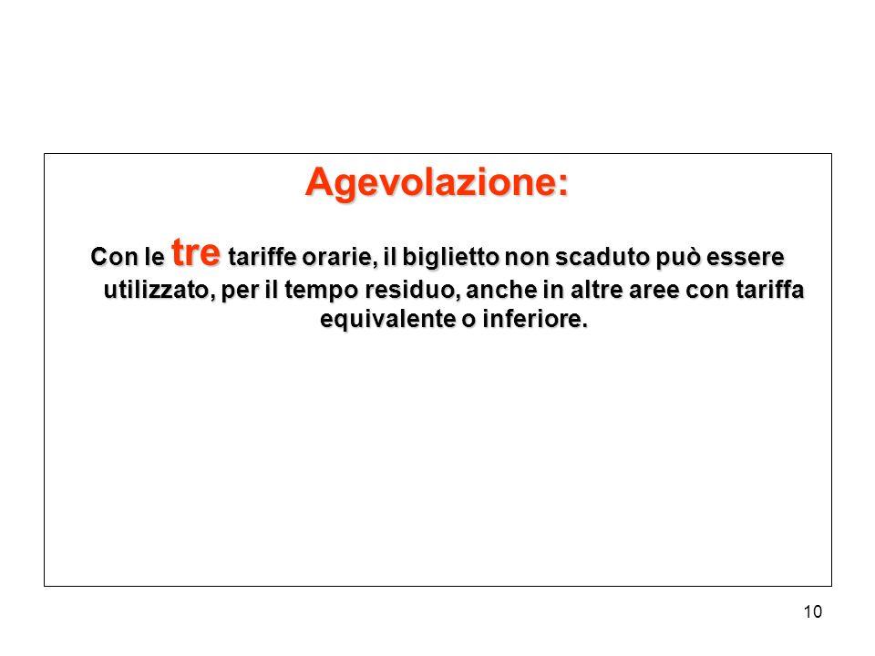 10 Agevolazione: Con le tre tariffe orarie, il biglietto non scaduto può essere utilizzato, per il tempo residuo, anche in altre aree con tariffa equi