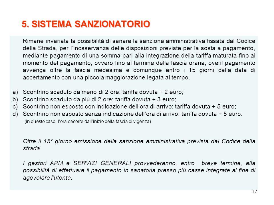 17 5. SISTEMA SANZIONATORIO 5. SISTEMA SANZIONATORIO Rimane invariata la possibilità di sanare la sanzione amministrativa fissata dal Codice della Str