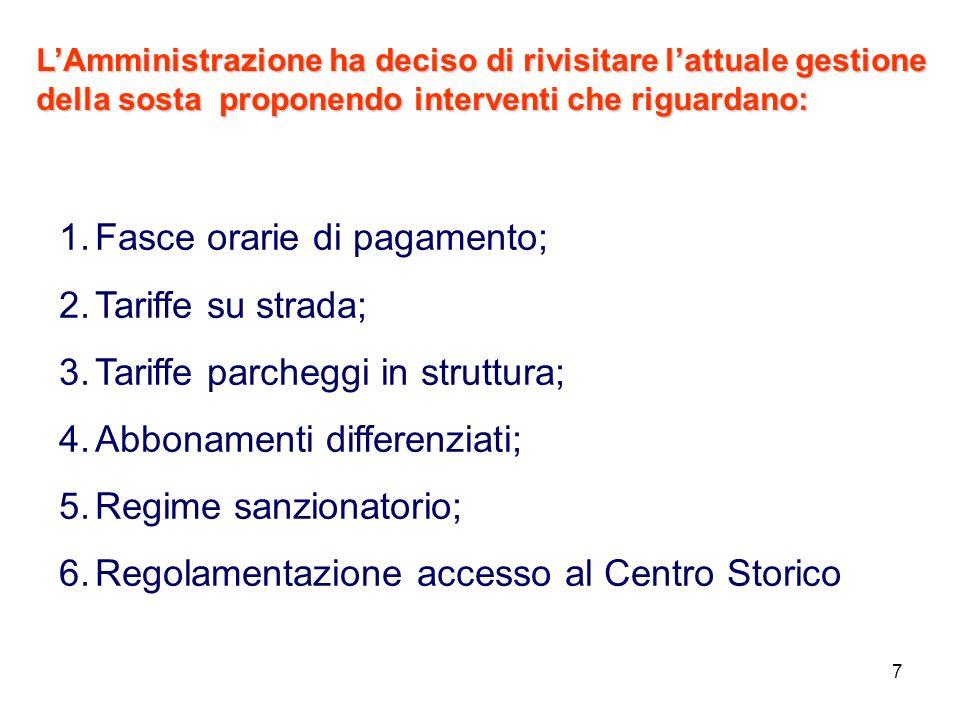7 LAmministrazione ha deciso di rivisitare lattuale gestione della sosta proponendo interventi che riguardano: 1.Fasce orarie di pagamento; 2.Tariffe