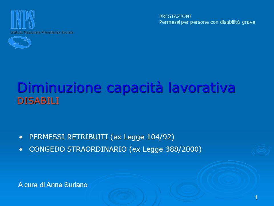 1 PERMESSI RETRIBUITI (ex Legge 104/92) CONGEDO STRAORDINARIO (ex Legge 388/2000) Diminuzione capacità lavorativa DISABILI PRESTAZIONI Permessi per pe