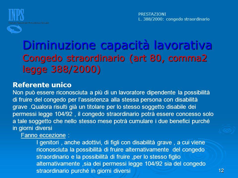 12 PRESTAZIONI L. 388/2000: congedo straordinario Diminuzione capacità lavorativa Congedo straordinario (art 80, comma2 legge 388/2000) Referente unic