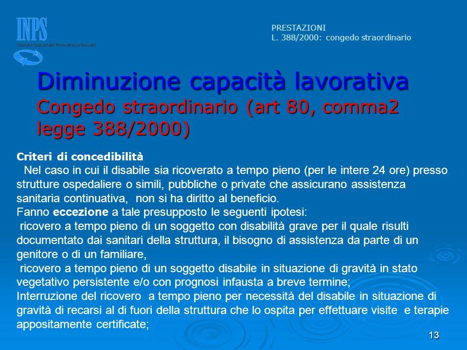 13 Criteri di concedibilità Nel caso in cui il disabile sia ricoverato a tempo pieno (per le intere 24 ore) presso strutture ospedaliere o simili, pub
