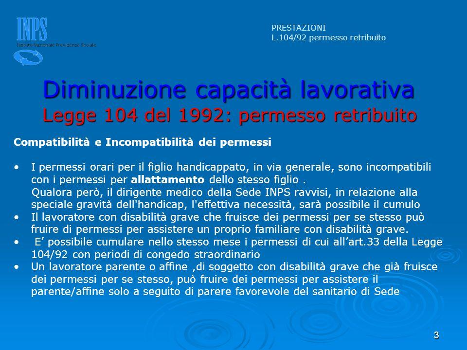 3 Compatibilità e Incompatibilità dei permessi I permessi orari per il figlio handicappato, in via generale, sono incompatibili con i permessi per all