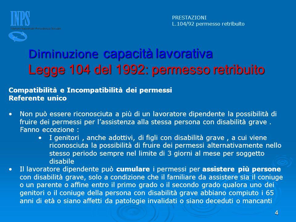 4 PRESTAZIONI L.104/92 permesso retribuito Diminuzione capacità lavorativa Legge 104 del 1992: permesso retribuito Compatibilità e Incompatibilità dei