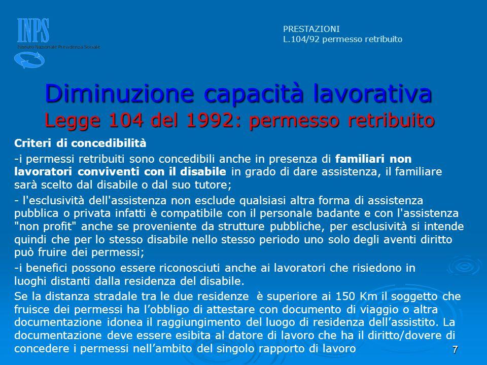 7 Criteri di concedibilità -i permessi retribuiti sono concedibili anche in presenza di familiari non lavoratori conviventi con il disabile in grado d
