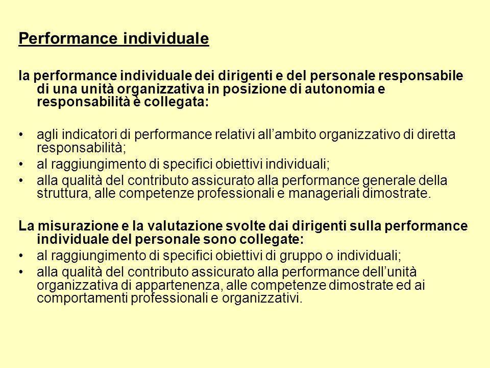 Performance individuale la performance individuale dei dirigenti e del personale responsabile di una unità organizzativa in posizione di autonomia e responsabilità è collegata: agli indicatori di performance relativi allambito organizzativo di diretta responsabilità; al raggiungimento di specifici obiettivi individuali; alla qualità del contributo assicurato alla performance generale della struttura, alle competenze professionali e manageriali dimostrate.