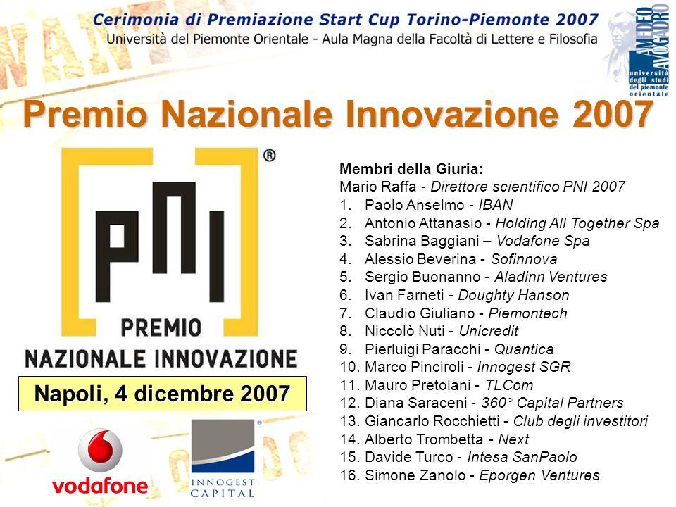 Premio Nazionale Innovazione 2007 Napoli, 4 dicembre 2007 Membri della Giuria: Mario Raffa - Direttore scientifico PNI 2007 1.Paolo Anselmo - IBAN 2.A