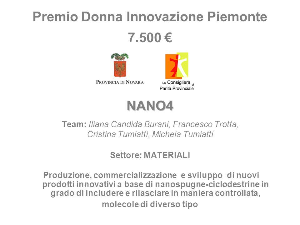 Premio Donna Innovazione Piemonte 7.500 NANO4 Team: Iliana Candida Burani, Francesco Trotta, Cristina Tumiatti, Michela Tumiatti Settore: MATERIALI Pr