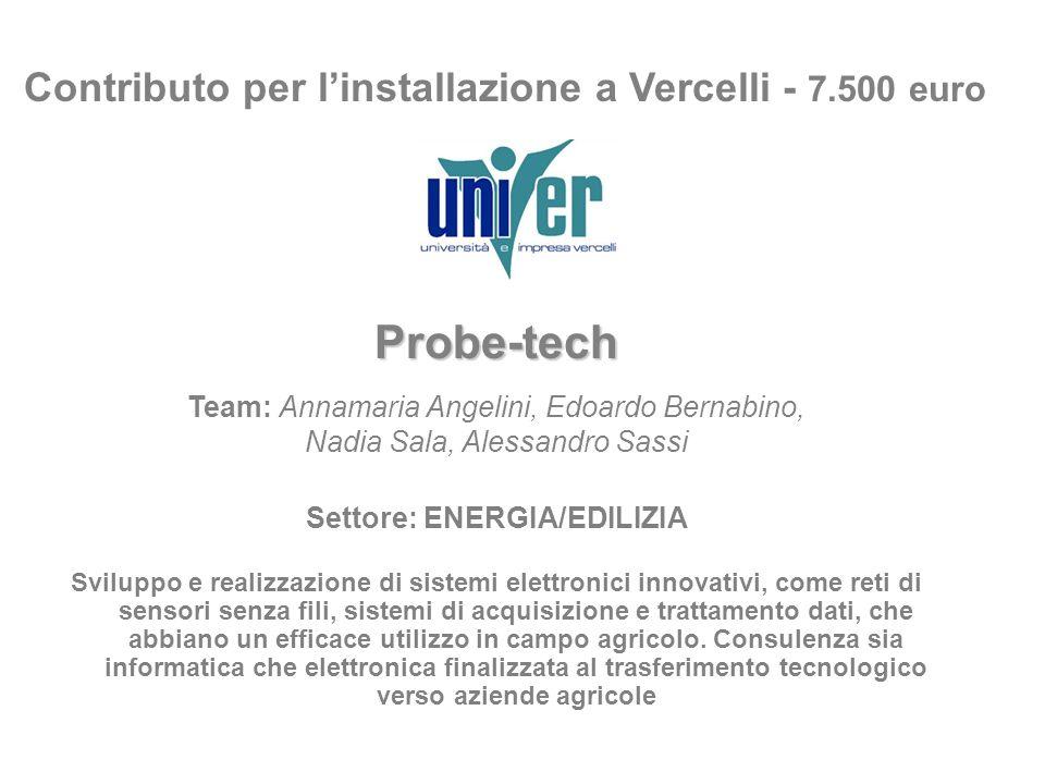Contributo per linstallazione a Vercelli - 7.500 euro Probe-tech Team: Annamaria Angelini, Edoardo Bernabino, Nadia Sala, Alessandro Sassi Settore: EN