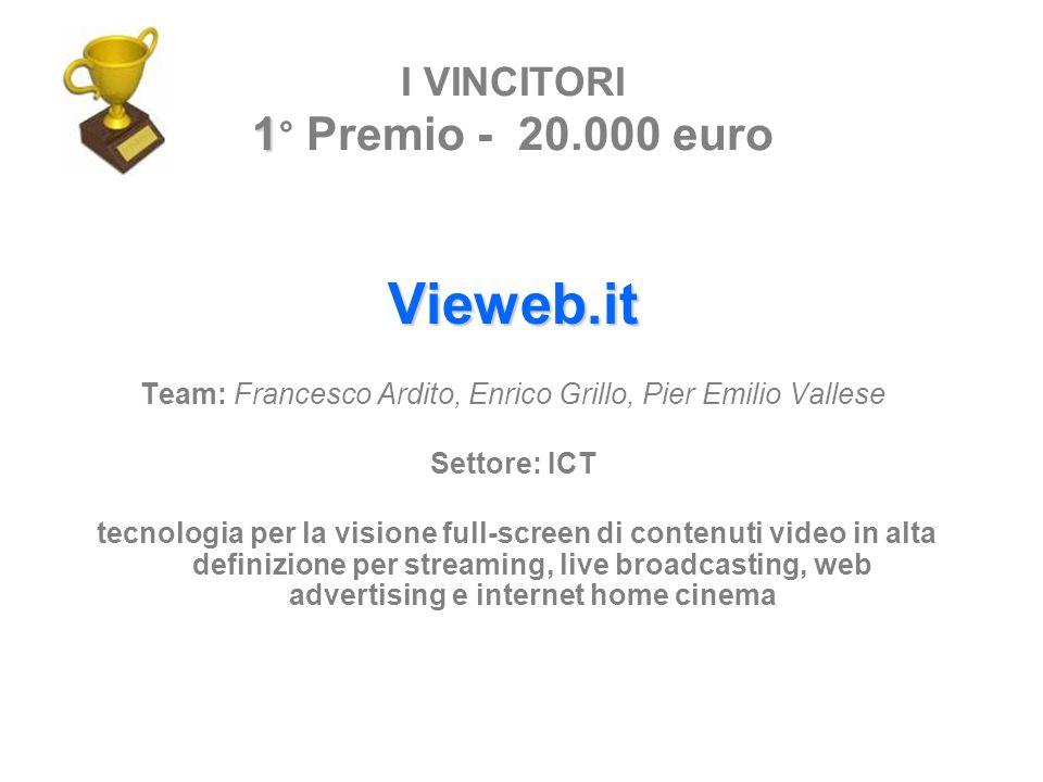 Vieweb.it Team: Francesco Ardito, Enrico Grillo, Pier Emilio Vallese Settore: ICT tecnologia per la visione full-screen di contenuti video in alta def