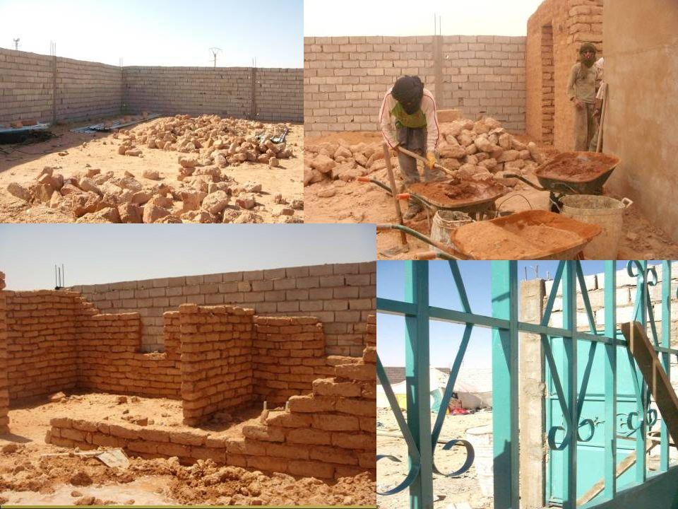 Il perimetro della costruzione viene realizzato in mattoni di cemento, le fondamenta sono state realizzate con cemento armato, mentre il muro interno è in terra cruda, mattoni impastati con acqua e sabbia, tecnica usata nelle tendopoli.