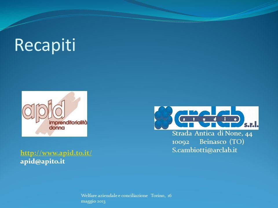 Recapiti Welfare aziendale e conciliazione Torino, 16 maggio 2013 Strada Antica di None, 44 10092 Beinasco (TO) S.cambiotti@arclab.it http://www.apid.
