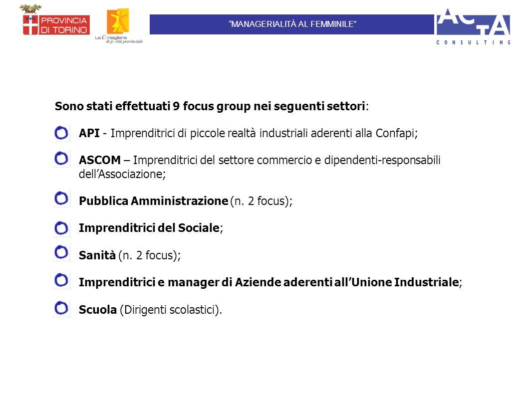 Sono stati effettuati 9 focus group nei seguenti settori: API - Imprenditrici di piccole realtà industriali aderenti alla Confapi; ASCOM – Imprenditrici del settore commercio e dipendenti-responsabili dellAssociazione; Pubblica Amministrazione (n.
