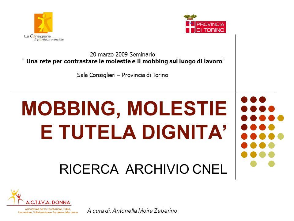 Archivio CNEL: Mobbing, molestie sessuali e tutela dignità Larchivio della Contrattazione Nazionale di CNEL, aggiornato nel dicembre del 2007, comprende complessivamente 2.715 contratti.