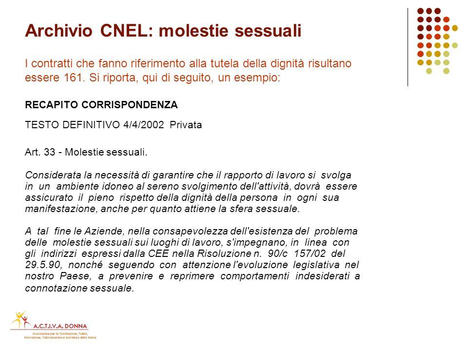 Archivio CNEL: tutela dignità I contratti che fanno riferimento alla tutela della dignità risultano essere 178.