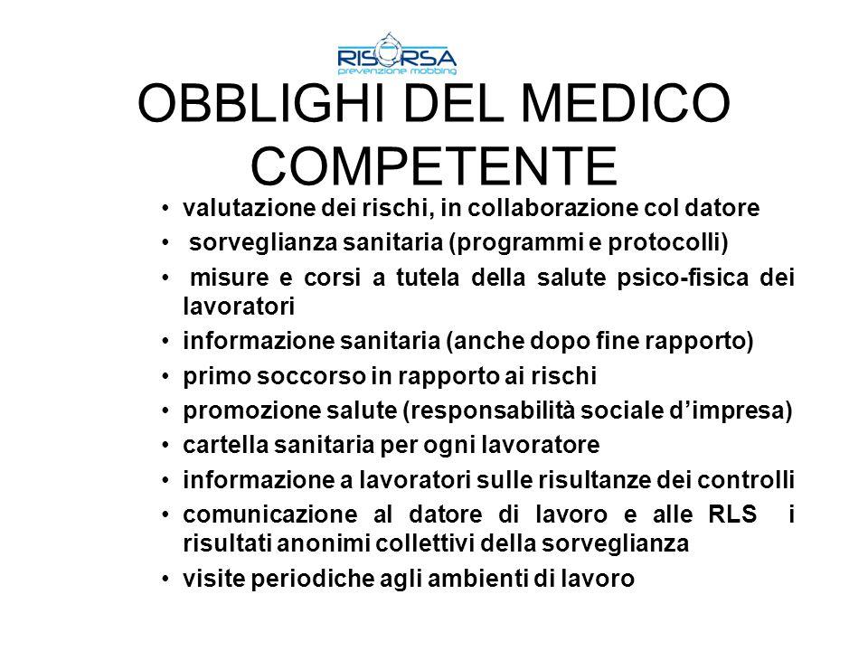 OBBLIGHI DEL MEDICO COMPETENTE valutazione dei rischi, in collaborazione col datore sorveglianza sanitaria (programmi e protocolli) misure e corsi a t