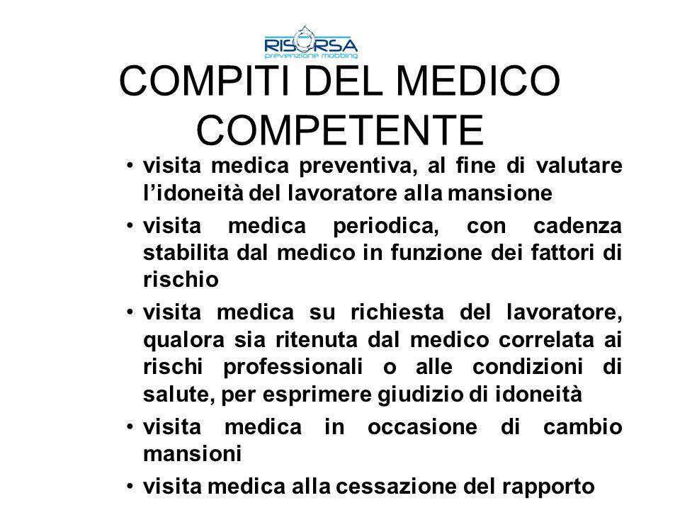 COMPITI DEL MEDICO COMPETENTE visita medica preventiva, al fine di valutare lidoneità del lavoratore alla mansione visita medica periodica, con cadenz