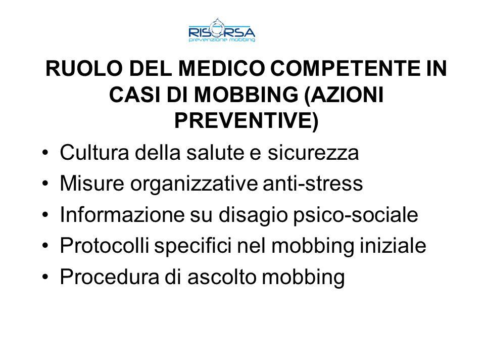 RUOLO DEL MEDICO COMPETENTE IN CASI DI MOBBING (AZIONI PREVENTIVE) Cultura della salute e sicurezza Misure organizzative anti-stress Informazione su d