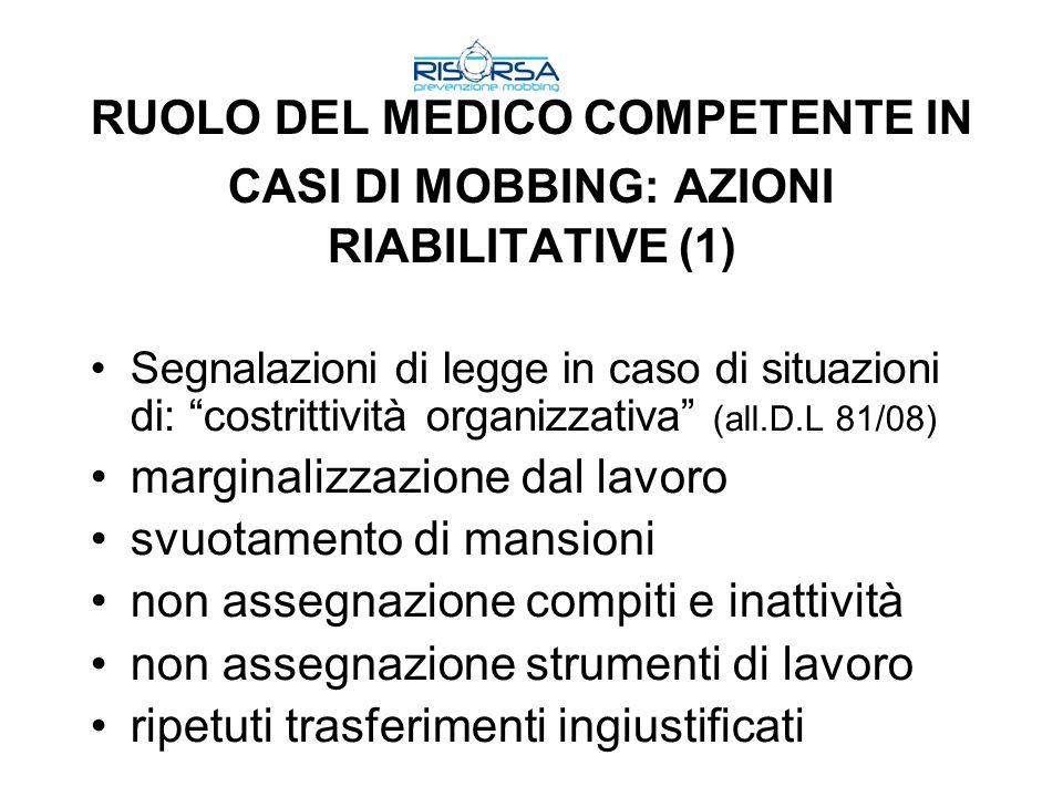 RUOLO DEL MEDICO COMPETENTE IN CASI DI MOBBING: AZIONI RIABILITATIVE (1) Segnalazioni di legge in caso di situazioni di: costrittività organizzativa (