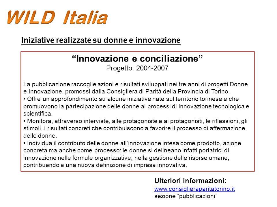 Innovazione e conciliazione Progetto: 2004-2007 La pubblicazione raccoglie azioni e risultati sviluppati nei tre anni di progetti Donne e Innovazione, promossi dalla Consigliera di Parità della Provincia di Torino.