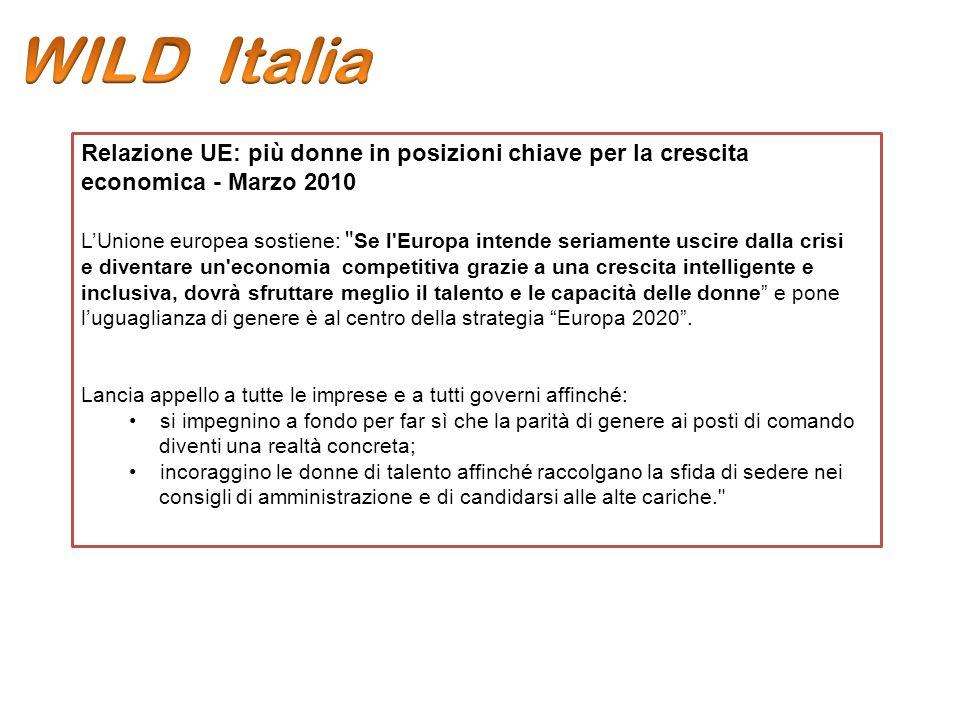 Relazione UE: più donne in posizioni chiave per la crescita economica - Marzo 2010 LUnione europea sostiene: