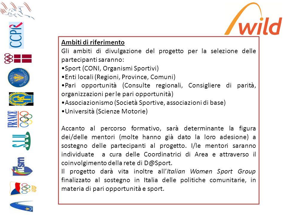 Ambiti di riferimento Gli ambiti di divulgazione del progetto per la selezione delle partecipanti saranno: Sport (CONI, Organismi Sportivi) Enti local