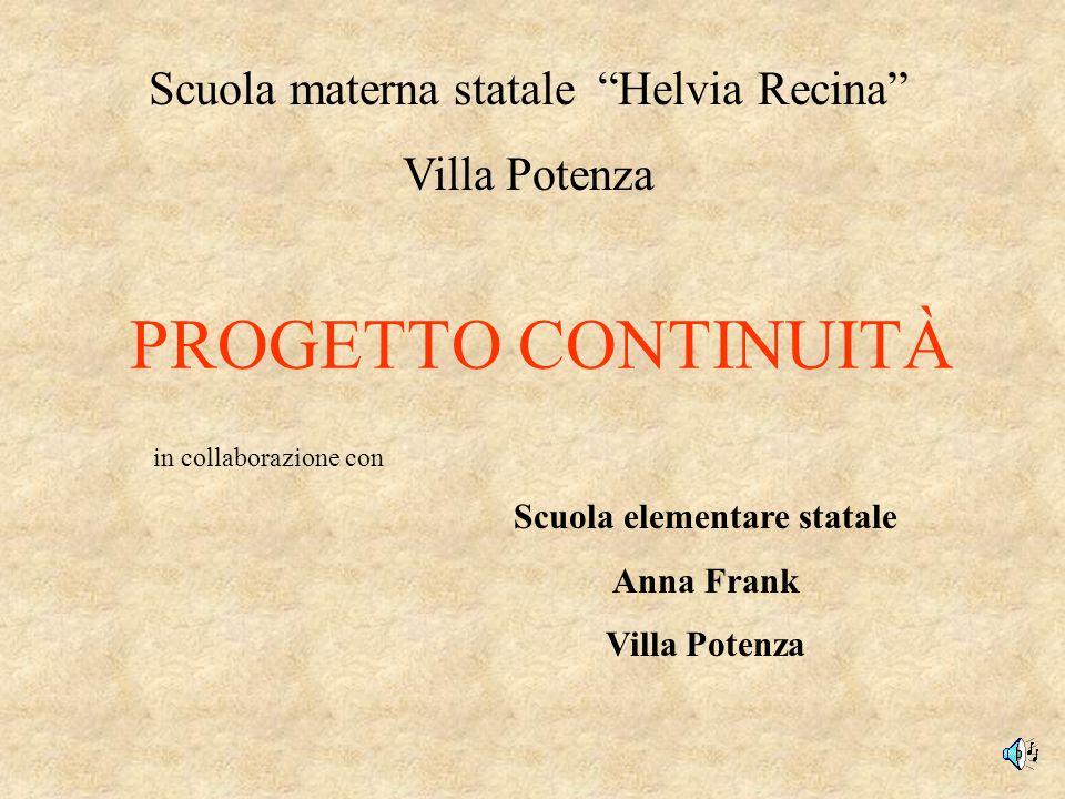 PROGETTO CONTINUITÀ Scuola materna statale Helvia Recina Villa Potenza Scuola elementare statale Anna Frank Villa Potenza in collaborazione con