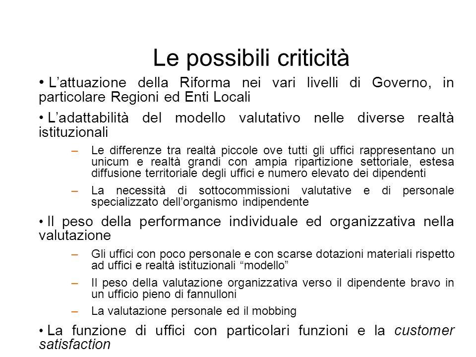 Le possibili criticità Lattuazione della Riforma nei vari livelli di Governo, in particolare Regioni ed Enti Locali Ladattabilità del modello valutati