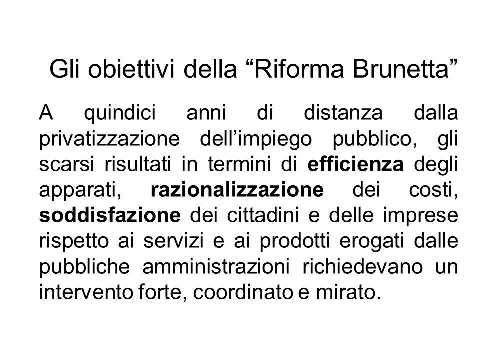 Gli obiettivi della Riforma Brunetta A quindici anni di distanza dalla privatizzazione dellimpiego pubblico, gli scarsi risultati in termini di effici