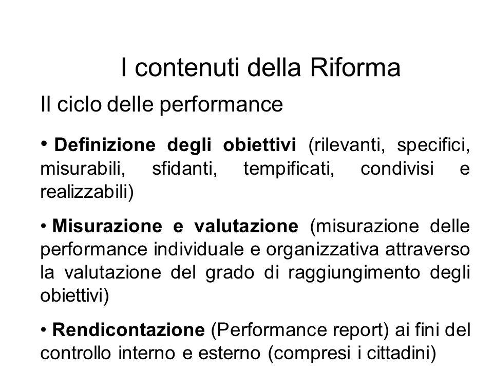 I contenuti della Riforma Il ciclo delle performance Definizione degli obiettivi (rilevanti, specifici, misurabili, sfidanti, tempificati, condivisi e