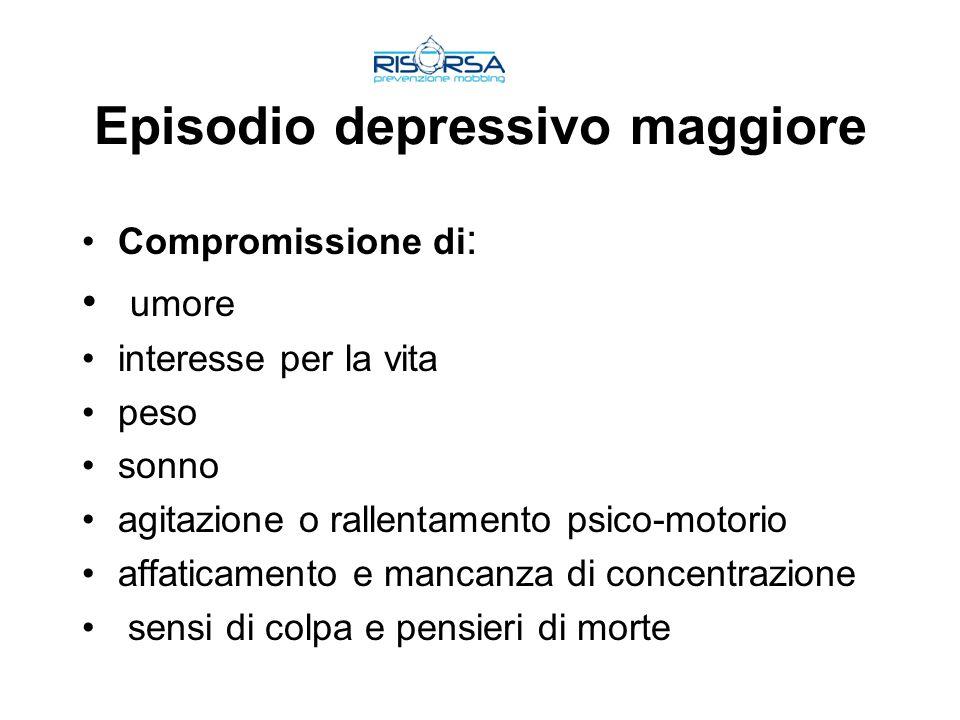 Episodio depressivo maggiore Compromissione di : umore interesse per la vita peso sonno agitazione o rallentamento psico-motorio affaticamento e manca