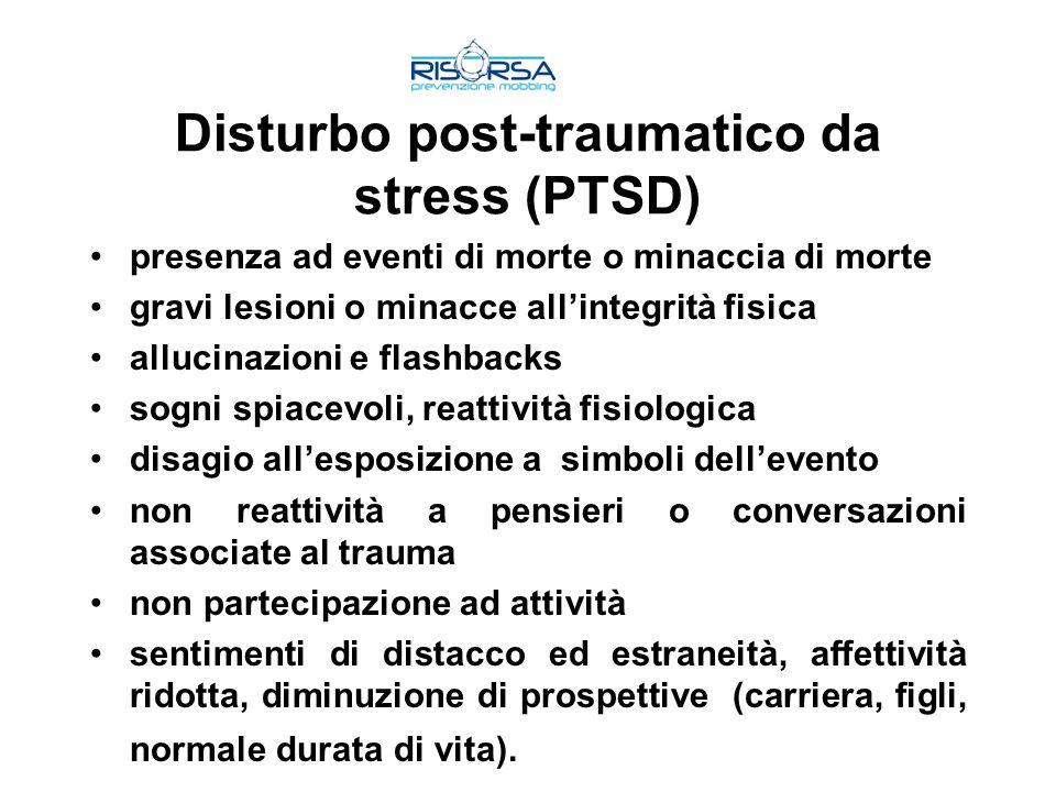 Disturbo post-traumatico da stress (PTSD) presenza ad eventi di morte o minaccia di morte gravi lesioni o minacce allintegrità fisica allucinazioni e