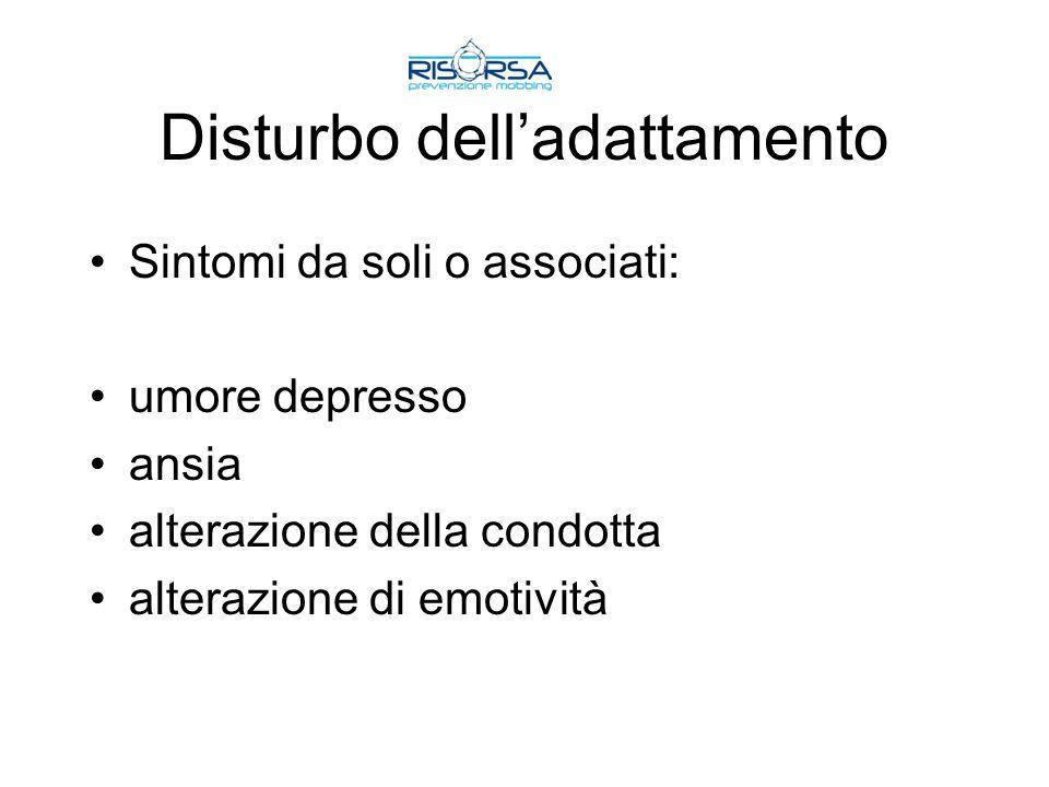 Disturbo delladattamento Sintomi da soli o associati: umore depresso ansia alterazione della condotta alterazione di emotività