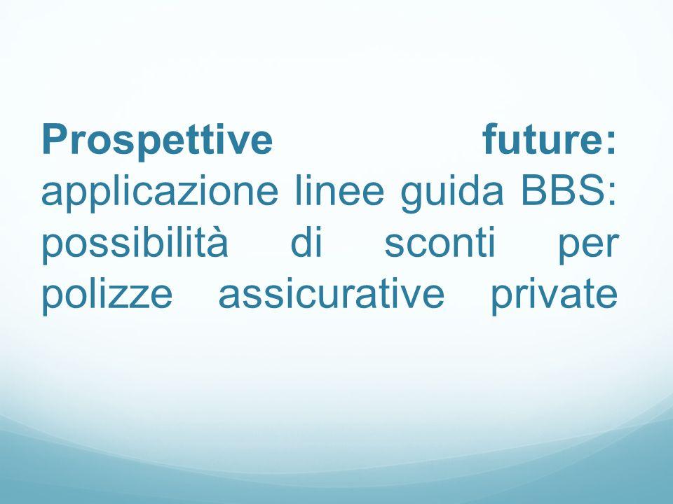Prospettive future: applicazione linee guida BBS: possibilità di sconti per polizze assicurative private