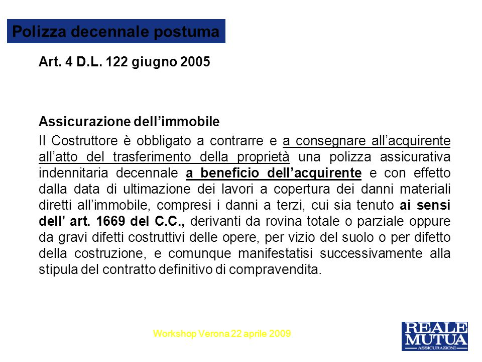 6 Polizza decennale postuma Art.