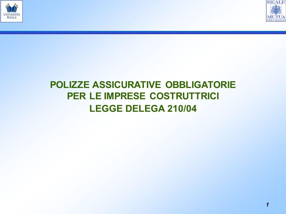 1 POLIZZE ASSICURATIVE OBBLIGATORIE PER LE IMPRESE COSTRUTTRICI LEGGE DELEGA 210/04