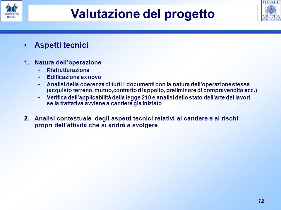 12 Aspetti tecnici 1.Natura delloperazione Ristrutturazione Edificazione ex novo Analisi della coerenza di tutti i documenti con la natura delloperazi