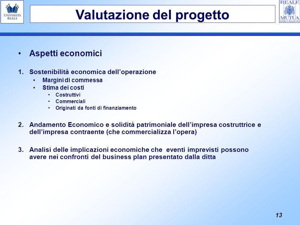 13 Aspetti economici 1.Sostenibilità economica delloperazione Margini di commessa Stima dei costi Costruttivi Commerciali Originati da fonti di finanz