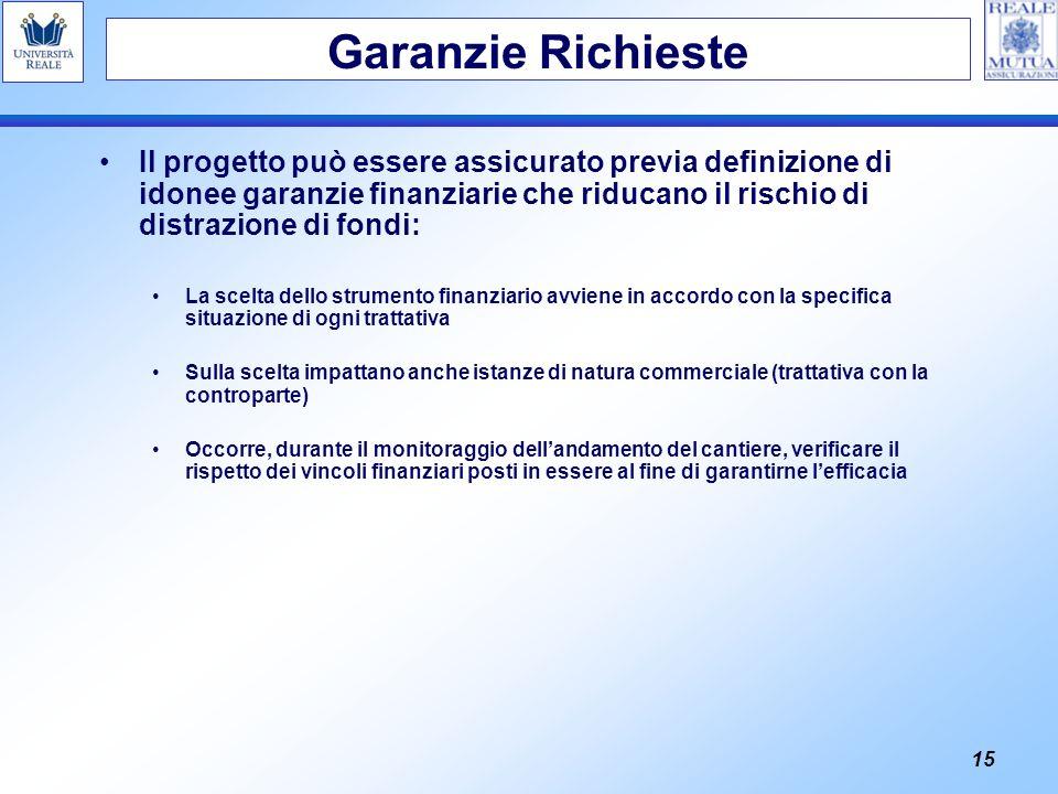 15 Il progetto può essere assicurato previa definizione di idonee garanzie finanziarie che riducano il rischio di distrazione di fondi: La scelta dell