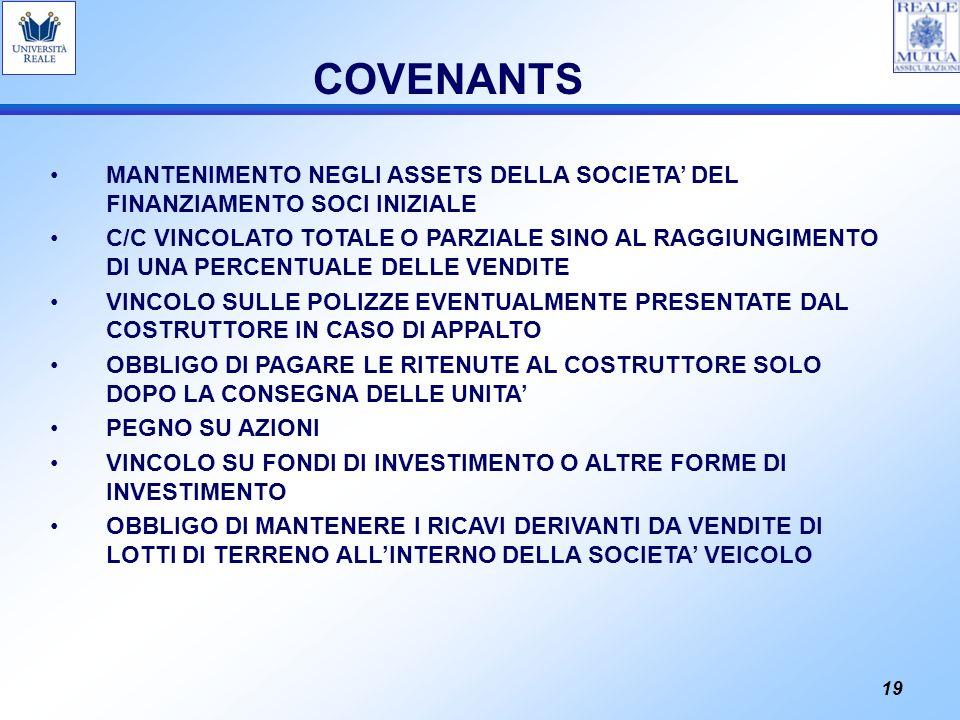 19 COVENANTS MANTENIMENTO NEGLI ASSETS DELLA SOCIETA DEL FINANZIAMENTO SOCI INIZIALE C/C VINCOLATO TOTALE O PARZIALE SINO AL RAGGIUNGIMENTO DI UNA PER